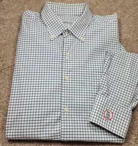 PETER MILLAR SUMMER COMFORT-Wht/Navy Check, Mens LS/BD, Logo Sport Shirt-(L)