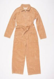 Junior Zara Girls Brown Thick Corduroy Boiler Jumpsuit Coverall Size 11 - 12