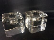 Vintage 1960s 1970s Pair Scandinavian Clear Glass Candle Holders Candlesticks
