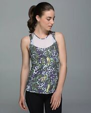 NWT $64 LULULEMON 6 RUNNING IN THE CITY TANK FLORAL RACERBACK MESH YOGA TOP