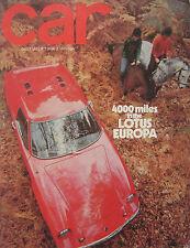 CAR 12/1969 featuring Lotus Europa, Reliant, Fiat, Opel, Reliant Scimitar GTE