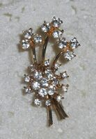 Vintage CORO Signed Clear Rhinestone Flower Bouquet Brooch Gold Tone