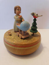 "Vintage Anri Music Box Thorens Movement ""Born Free"" Girl w Baby Carriage"