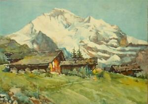 A. Marc (Nicolas Markovitch) signed lithograph engraving 'Jungfrau Switzerland'