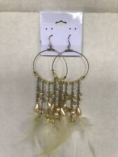 """Dangle Drop Delicate feathers 6"""" Pierced Earrings Faux Pearl beads Chandelier"""