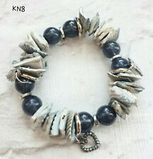 And Shell Elasticated Bracelet Chunky Grey Blue Bead