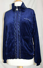 Renato Balestra M velour hoodie track jacket zipper blue crystals