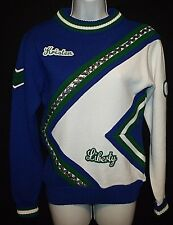 Vtg Liberty Hs cheerleader sweater Kristen 03 varsity blue green silver sequin S