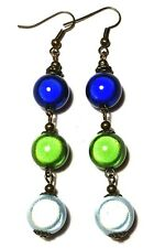 Long Bronze Colourful Miracle Bead Earrings Drop Dangle Antique Vintage Style