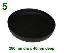 Black Plastic Saucer to suit 330mm Round Plant Pot x5
