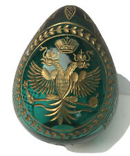 Vtg Faberge Imperial Turquoise Blue Crystal Cut Egg Gold Deco Faberge Logo