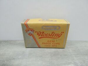 """""""Noesting"""" Gem Paper Clips 100 No. 1 Box-Vintage Advertising-Yellow /Silver /Red"""