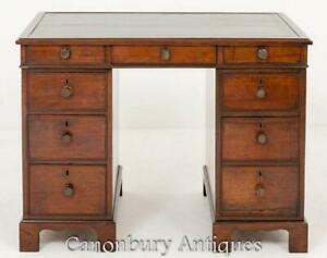 George III Desk - Mahogany Knee Hole Pedestal Desks