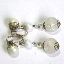 Vintage Earrings Filigree Crackle Glass White Pearl Aurora Borealis