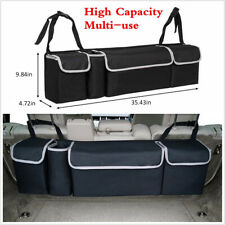 High Capacity Multi-use Car Seat Back Organizers Bag Interior Accessories Black (Fits: Saab)