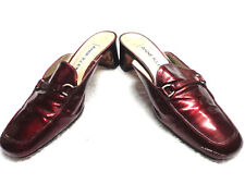 ANN KLEIN BURGUNDY/WINE RED PATENT LEATHER HEELS PUMPS SHOES MULES-Sz 5M@@