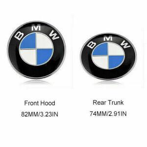 2X Front Hood 82mm & Rear Trunk 74mm BMW Badge Emblem 51148132375 US