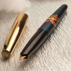 Vintage PILOT 1964 Super 60 Blue Gold Urushi Art 14K Gold Fine Nib Fountain Pen