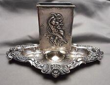 Antique Kerr Sterling Match Box Holder on Tray 1263 Gargoyle Cherub Venus Nymph