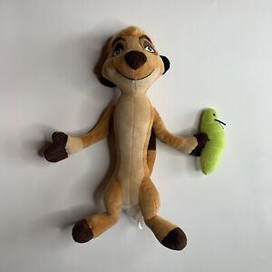 "Disney Lion King 14"" TIMON Meerkat Plush Green Grub Worm Bug Brown Stuffed"