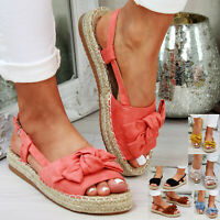Womens Flat Sandals Comfy Peep Toe Espadrilles Ankle Strap Slip on Shoes Size