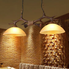 Country Style Brown Resin Faux Antler 2 Glass Bowl Shade Ceiling Pendant Light