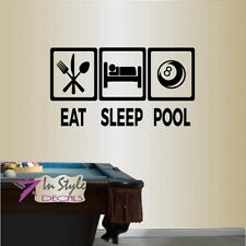 Vinyl Decal Eat Sleep Pool Billiards Snooker Club Room Wall Sticker Decor 2457
