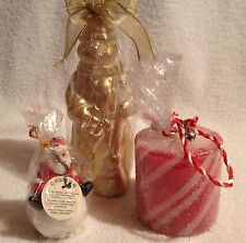 Snowman,Santa,Candy Cane Strip,Candles,Set of three,Christmas,Vintage