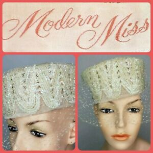 Vintage Modern Miss Pillbox Hat 50s Ivory Velvet Sequins Netting Facinators