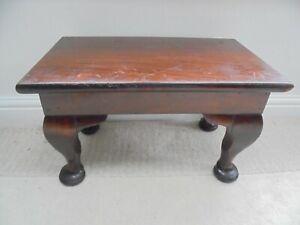 Vintage chunky mahogany coffee table, low stool bench, pad feet, 1930's