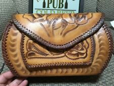Vintage Hand-Tooled LEATHER PURSE Made in Mexico Floral Shoulder Bag Beautiful!!