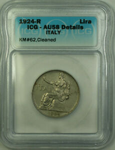 1924-R Italy Nickel 1 Lira Coin ICG AU-58 Details Cleaned KM#62