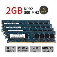 8GB 4x 2GB DDR2 PC2-6400U 800MHz 240Pin DIMM Computer RAM Desktop Memory Blue