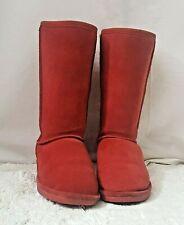 Bearpaw Emma Women's Solid Red Short Boot Sheepskin Fur lined Size 6