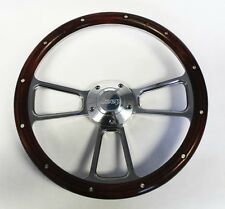 """Jeep Wrangler YJ CJ Cherokee Real Wood and Billet Steering Wheel 14"""" Jeep cap"""
