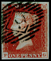 SG8, 1d red-brown PLATE 62, FINE USED. Cat £30. 4 MARGINS. FG