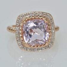 Ladies 10k Rose Gold Lilac Amethyst & 1/6 Ct Diamond Halo Estate Ring