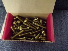 #10-24 Machine Screw with Round Head Type, Plain Finish, Brass, 100 PK (M)