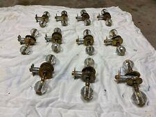 Antique brass and glass door knobs (12 + half)