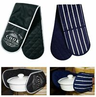 Double Oven Gloves 100% Cotton Mitt Padded Heat Resistance Insulated Kitchen UK