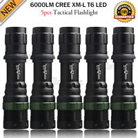 5PCS 6000LM 18650 Rechargeable 3-Modes CREE XML T6 LED Flashlight Torch Light UK