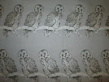 OWLS METALLIC SILVER GRAY OWL COTTON FABRIC FQ