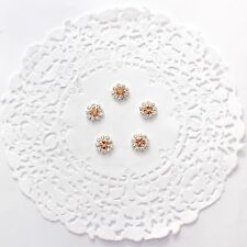 12 mm peach rhinestone flatback embellishments - for millinery, hair, crafts x 5
