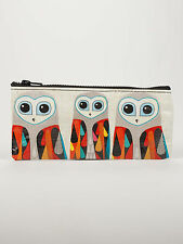 """Blue Q """"Hoo's Next"""" pencil case artsy owls bag eco recycled by Inaluxe"""