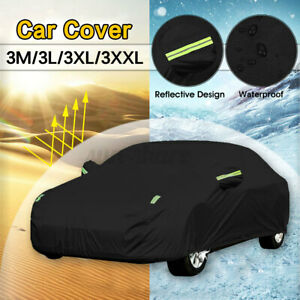 17ft Sedan Car Cover Waterproof Outdoor Sun Rain Dust Resistant Protection 190T
