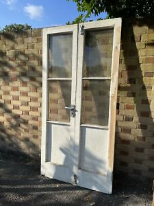 Reclaimed Old French Single Panel Glass Wooden Double Doors 2015 x 1004mm