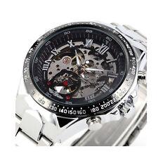 WINNER Men Black Skeleton Dial Automatic Mechanical Silver Stainless Steel G3T8