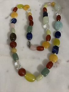 Sterling Silver 925 KNOTTED MULTI GEMSTONE chunky long Necklace