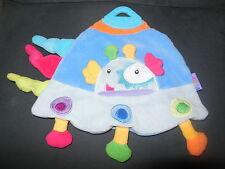 doudou plat soucoupe volante extraterrestre bleu anneau dentition BABYSUN