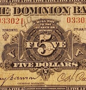 1935 Dominion Bank $5 Banknote. Canadian Chartered Banknote.